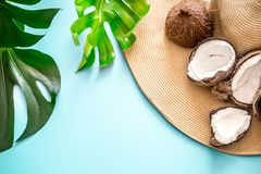 Colorful summer with coconuts and beach hat. Colorful summer with coconuts and a beach hat on a blue background with real tropical leaves, summer fashion royalty free stock image