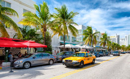Colorful summer day at Ocean Drive in South Beach, Miami Royalty Free Stock Photography