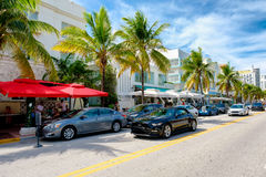 Colorful summer day at Ocean Drive in South Beach, Miami Stock Photography