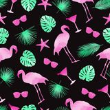 Colorful summer elements seamless pattern background. Flamingo, monstera leafs, cocktails and sunglasses. Watercolor stock illustration
