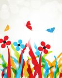 Colorful summer flowers and butterflies Royalty Free Stock Photo