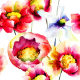 Colorful summer flowers, seamless pattern Royalty Free Stock Photography