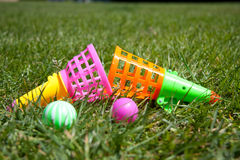 Colorful summer games. Summer games on the lawn Royalty Free Stock Photo