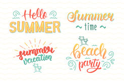 Colorful summer hand lettering set. Summer typographic and calligraphic set.  Summer logos and emblems. Vector Stock Photography