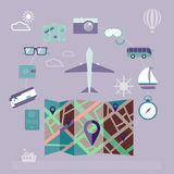 Colorful summer holiday travel planning icon set. Stock Images