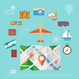 Colorful summer holiday travel planning icon set. Royalty Free Stock Images