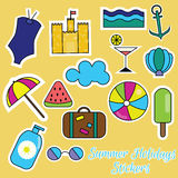 Colorful summer holidays stickers Stock Photography