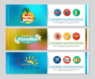 Colorful summer holidays and travel banners. Blurred brochure design with flat icons, calligraphic elements and place for text. Vector illustration royalty free illustration