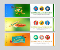 Colorful summer holidays and travel banners Royalty Free Stock Image