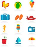 Colorful summer icons. Vector illustraion Stock Photography