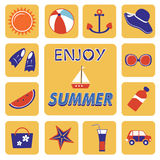 Colorful summer icons collection Stock Image