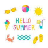 Colorful Summer Icons Set. Cute Vector Signs. Hello Summer Funny Phrase on White Background. Summer Holiday Concept for Cards, Illustrations, Posters, Banners Royalty Free Stock Image