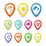 Colorful summer icons set. On white background Royalty Free Stock Images