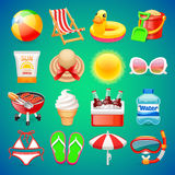 Colorful Summer Icons Set Stock Photo