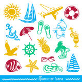 Colorful summer icons Stock Image