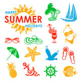Colorful 15 summer icons. Colorful summer icons symbolizing summer vacation, travel Royalty Free Stock Photos