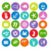 Colorful summer icons Royalty Free Stock Images