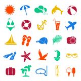 Colorful summer icons on white background Royalty Free Stock Images