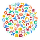 Colorful summer icons on white background Stock Photos