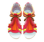 Colorful summer kid girl sandals.Shoes isolated. Stock Image