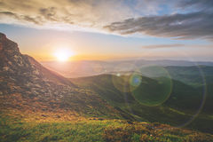 Colorful summer landscape in the Carpathian mountains.. Mountain valley during sunrise / sunset. Natural summer landscape Royalty Free Stock Photography