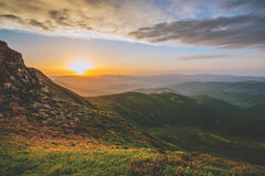 Colorful summer landscape in the Carpathian mountains.. Mountain valley during sunrise / sunset. Natural summer landscape Royalty Free Stock Images