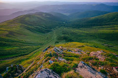 Colorful summer landscape in the Carpathian mountains. Stone surface. stock photography