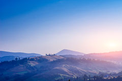 Colorful summer landscape in the Carpathian mountains. Sunset Stock Photo