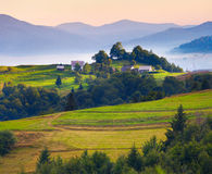Colorful summer landscape in the Carpathian village Royalty Free Stock Photography