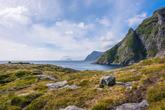 Colorful summer landscape. With mountains and water in Norway Royalty Free Stock Image