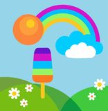 Colorful summer meadow with rainbow and ice cream. Colorful summer meadow with rainbow, ice cream and sun Royalty Free Stock Photo