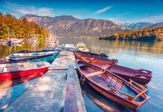 Colorful summer morning on the Bohinj Lake with boats Royalty Free Stock Photography