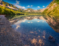 Colorful summer morning on the Bohinj lake in Triglav national p Royalty Free Stock Photography
