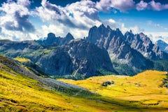 Colorful summer morning in the Cadini di Misurina range Stock Image