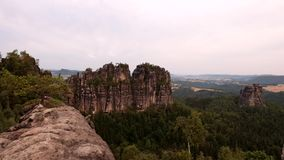 Colorful summer morning at climbers wall. The attractive nature rock empire park Saxony Switzerland. stock video