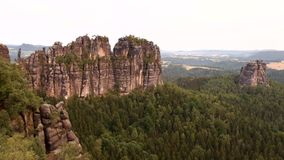 Colorful summer morning at climbers wall. The attractive nature rock empire park Saxony Switzerland. stock footage