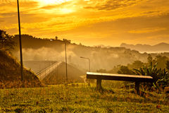 Colorful summer morning with golden light and fog Royalty Free Stock Photo
