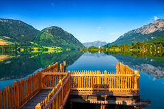 Colorful summer morning on the Grundlsee lake Royalty Free Stock Photography