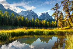 Colorful summer morning on the lake Antorno Royalty Free Stock Photos