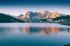 Colorful summer morning on the Lake Misurina Stock Image