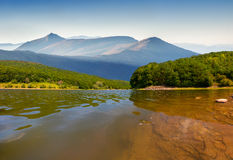 Colorful summer morning on  mountain river Royalty Free Stock Photos