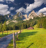 Colorful summer morning near the Vorderer Gosausee lake. In the Austrian Alps. Austria, Europe Royalty Free Stock Photo