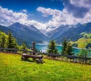 Colorful summer morning on the Speicher Durlassboden lake Stock Images