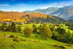 Colorful summer morning on the Stara Fuzina village Stock Image