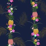 Colorful summer night tropical flowers and leaves seamless pattern on navy blue background,for decorative,fashion,fabric,textile vector illustration