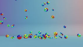 Colorful Summer Objects Falling, stock footage Royalty Free Stock Photo