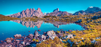 Colorful summer panorama of the Lago Rienza - Ursprung Royalty Free Stock Photography