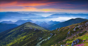 Colorful summer panorama of the mountains. Stock Photo