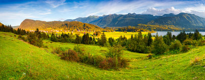 Colorful summer panorama ofn the Stara Fuzina village Stock Images