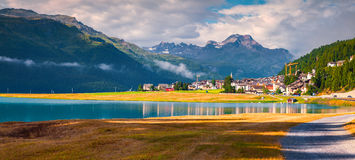 Colorful summer panorama of the Silvaplana village Royalty Free Stock Image
